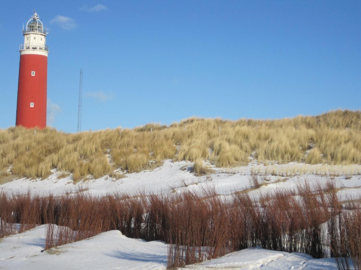 Texel Leuchtturm im Schnee