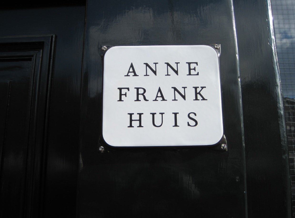 Plakette Anne Frank Huis in Amsterdam